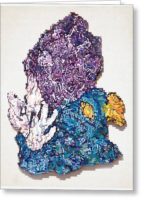 Lego Mixed Media Greeting Cards - Propylene Purple Greeting Card by Karl Frey