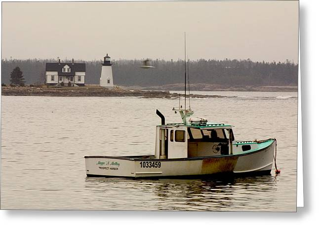 Brent L Ander Greeting Cards - Prospect Harbor Lighthouse Greeting Card by Brent L Ander