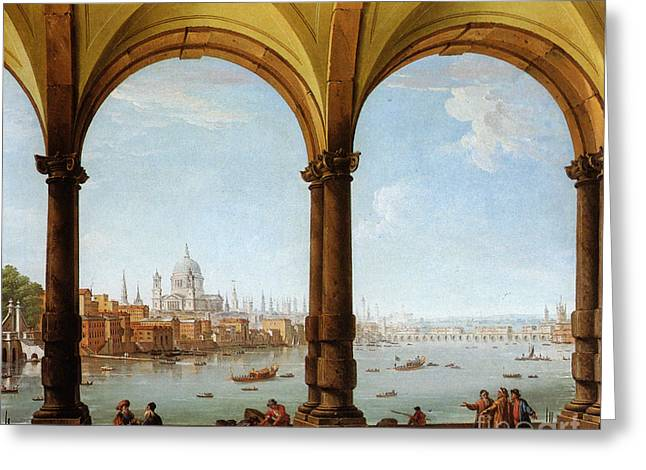 Prospects Paintings Greeting Cards - Prospect of London Greeting Card by Antonio Joli
