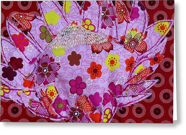 Large Tapestries - Textiles Greeting Cards - Protea Greeting Card by Jenny Retief