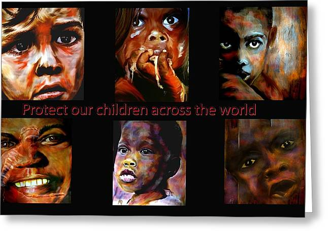 Oppression Mixed Media Greeting Cards - Protect Our Children Greeting Card by Michelle Dick