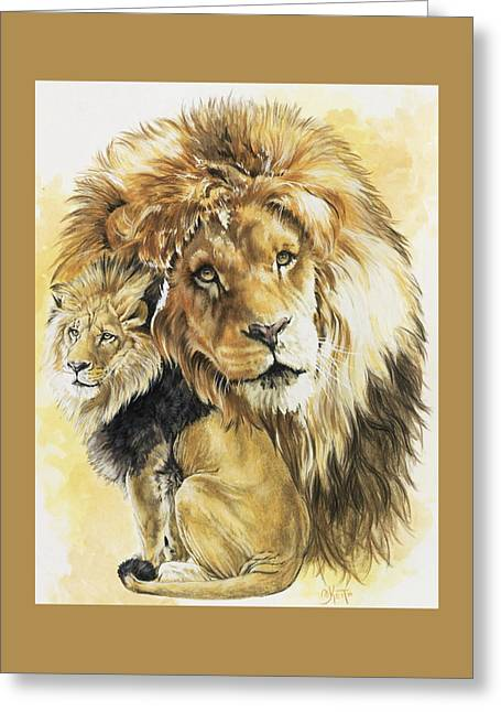 Lions Greeting Cards - Protector Greeting Card by Barbara Keith