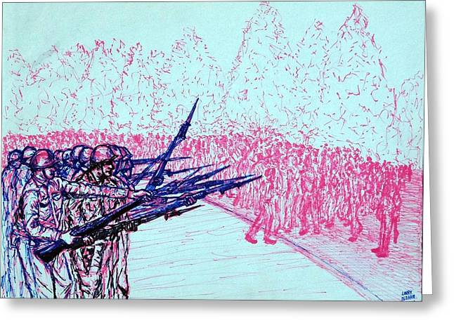 Bayonet Drawings Greeting Cards - Protesters Greeting Card by Larry Oldham