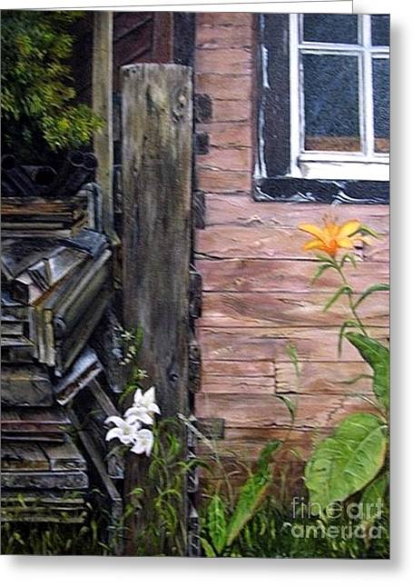 Shed Paintings Greeting Cards - Proud To Be Orange Greeting Card by Anna-Maria Dickinson
