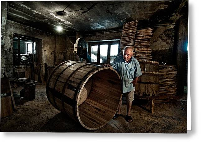 Barrels Greeting Cards - Proudly Displays His Works Greeting Card by Antonio Grambone