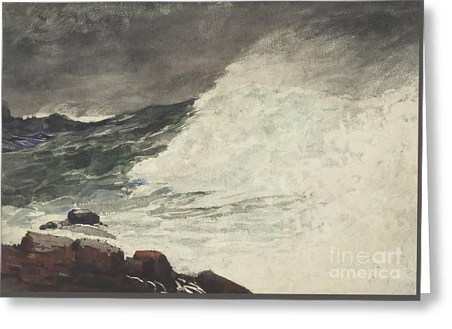 Prouts Neck Breaking Wave Greeting Card by Winslow Homer