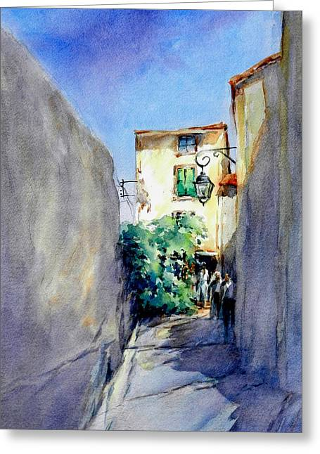 Provence Village Greeting Cards - Provence Walk Greeting Card by Virgil Carter