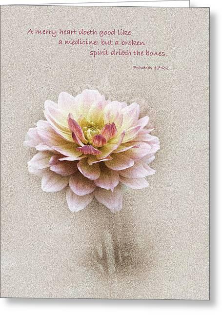 Floral Digital Art Digital Art Greeting Cards - Proverbs 17 v 22 Floral  Greeting Card by Debbie Nobile