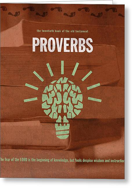 Proverbs Books Of The Bible Series Old Testament Minimal Poster Art Number 20 Greeting Card by Design Turnpike