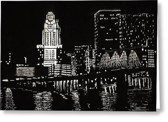 City Lights Greeting Cards - Providence Greeting Card by Shane Silva