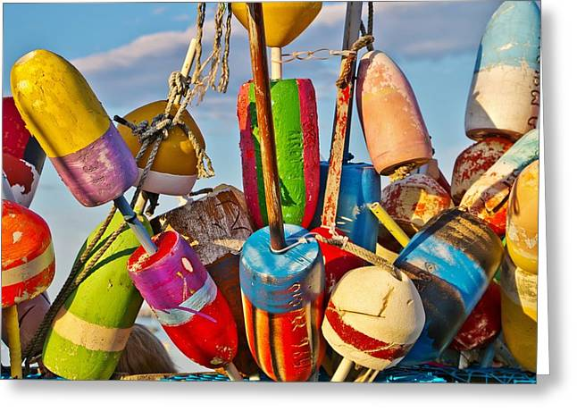 New England Ocean Greeting Cards - Provincetown Buoys Greeting Card by Marisa Geraghty
