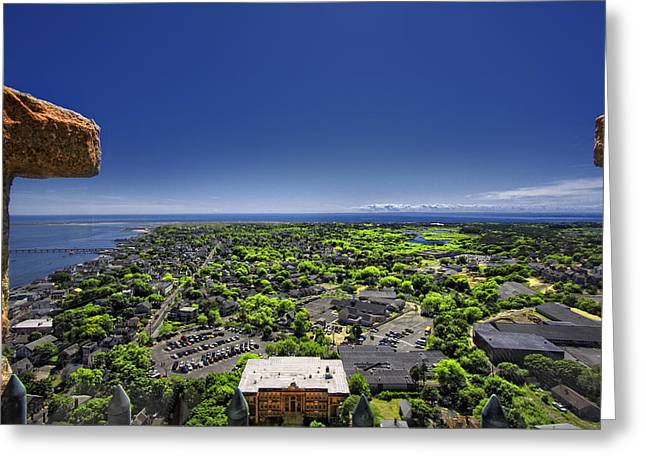 Monument Pyrography Greeting Cards - Provincetown Panoramic Aerial Greeting Card by Dapixara Art
