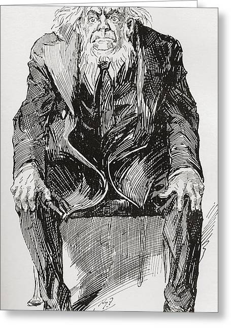 Character Portraits Greeting Cards - Provis. Illustration By Harry Furniss Greeting Card by Vintage Design Pics