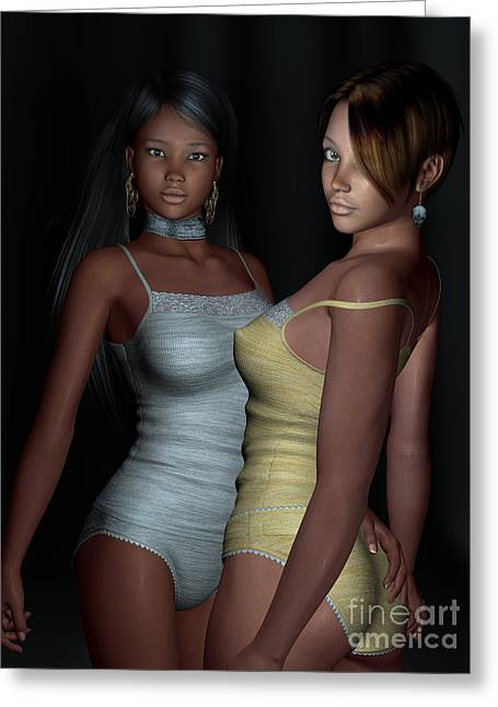 African-american Digital Greeting Cards - Provocative Flirt Greeting Card by Alexander Butler