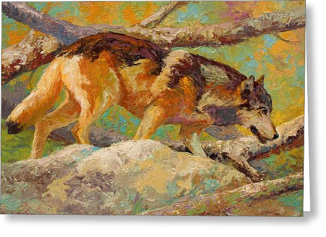 Alaska Paintings Greeting Cards - Prowler - Grey Wolf Greeting Card by Marion Rose