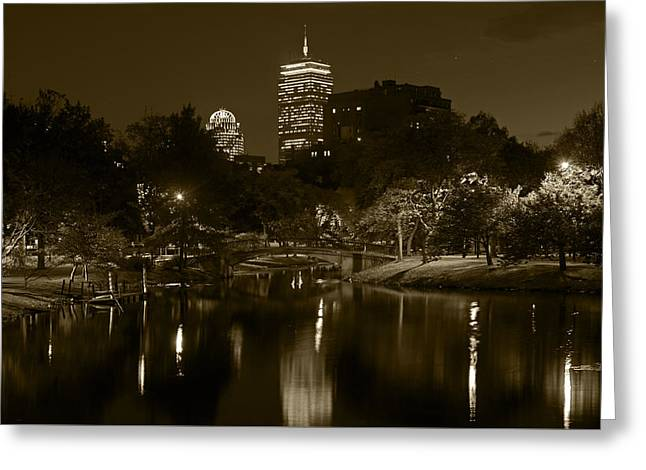 Boston Ma Greeting Cards - Prudential over the Charles River Sepia Greeting Card by Toby McGuire