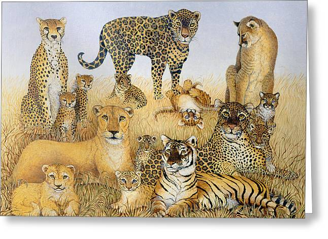The Big Cats Greeting Card by Pat Scott
