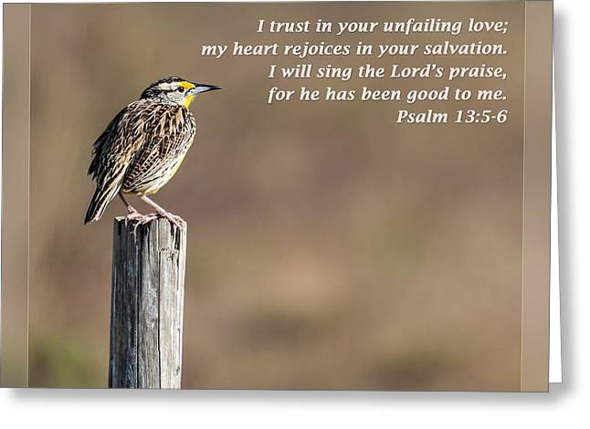 Eternal Inspirational Greeting Cards - Psalm 13 5-6 Greeting Card by Dawn Currie