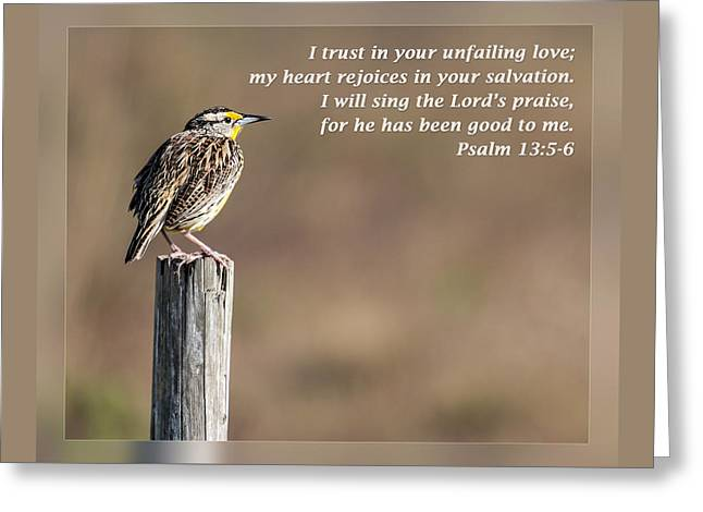 Inspirational Wildlife Prints Greeting Cards - Psalm 13 5-6 Greeting Card by Dawn Currie