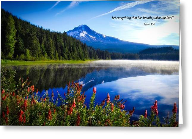 Psalm 150 With Lake Trillium Greeting Card by Lynn Hopwood