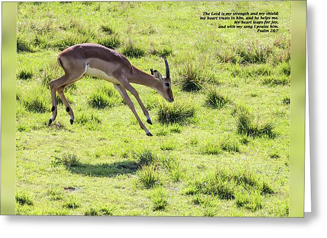Psalm One Greeting Cards - Psalm 28 7 Greeting Card by Dawn Currie