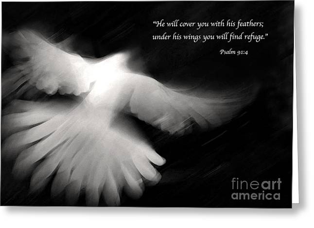 Scripture Digital Art Greeting Cards - Psalm 91 Greeting Card by Glennis Siverson