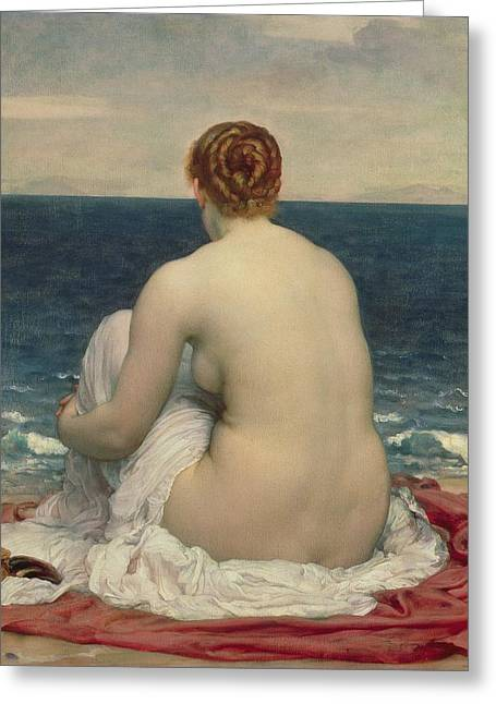 Ocean Shore Paintings Greeting Cards - Psamanthe Greeting Card by Frederic Leighton