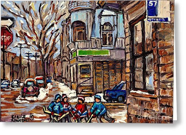 Verdun Restaurants Greeting Cards - Psc Winter Street 57 Bus Stop Hockey Fun Connies Pizza Original Canadian Painting Carole Spandau Greeting Card by Carole Spandau