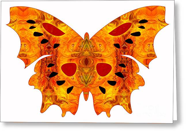 Green And Yellow Glass Greeting Cards - Psychadelic Futures And Abstract Butterflies by Omashte Greeting Card by Omaste Witkowski