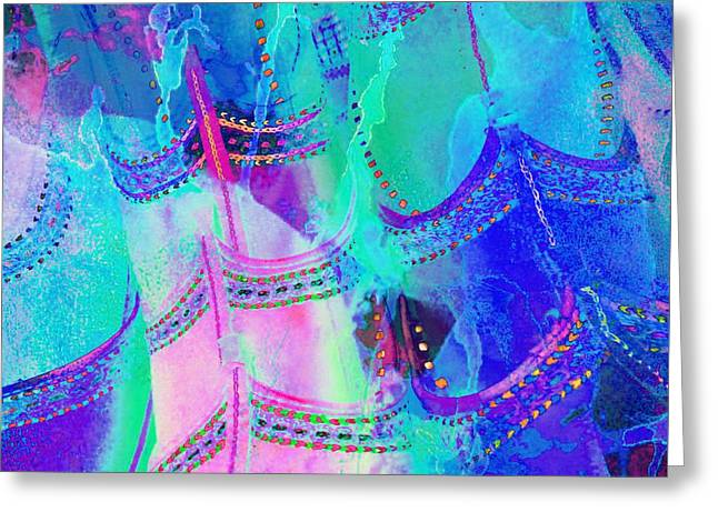 Apparel Greeting Cards - Psychedelic Blue Shoes Shopping is Fun Abstract Square 4f Greeting Card by Sue Jacobi