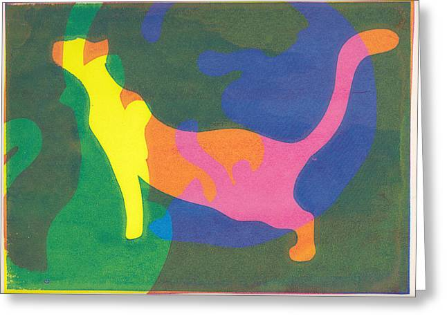 Serigraphy Greeting Cards - Psychedelic Cats Greeting Card by Holly Minniear