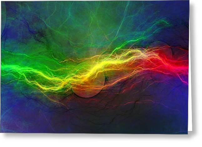 Images Lightning Digital Art Greeting Cards - Psychedelic lightning Greeting Card by Martin Capek