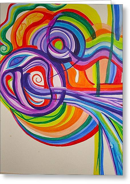 Psychedelic Mask Greeting Card by Erika Swartzkopf