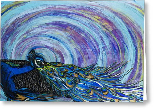 Becca Weeks Greeting Cards - Psychedelic Peacock Greeting Card by Becca Lynn Weeks