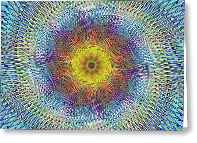 Colorful Digital Art Greeting Cards - Psychedelic spiral fractal Greeting Card by David Zydd