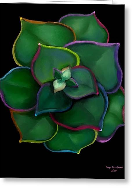 Cacti Digital Greeting Cards - Psychedelic Succulent Greeting Card by Tanya Van Gorder