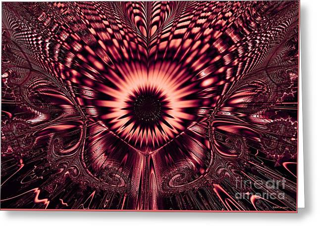 Hallucination Greeting Cards - Psychedelic Sunflower / dark magenta Greeting Card by Elizabeth McTaggart