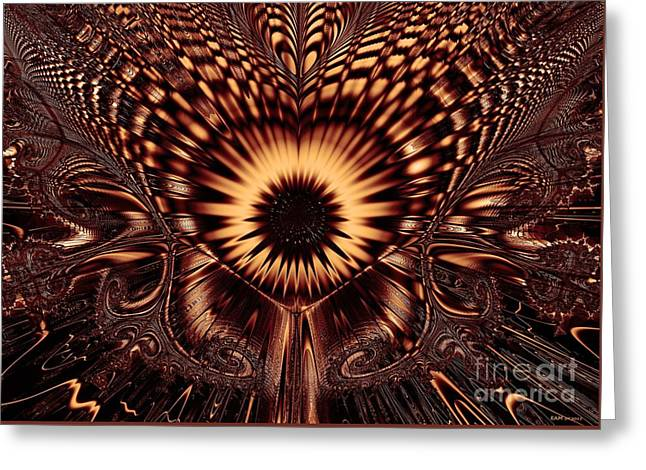 Hallucination Greeting Cards - Psychedelic Sunflower / dark sepia  Greeting Card by Elizabeth McTaggart