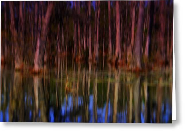 Psychedelic Van Greeting Cards - Psychedelic Swamp Trees Greeting Card by Susanne Van Hulst