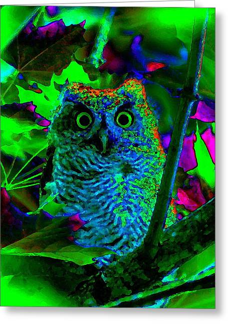 Psychedelic Owl Greeting Cards - PsychedelicOwl Greeting Card by Ben Upham
