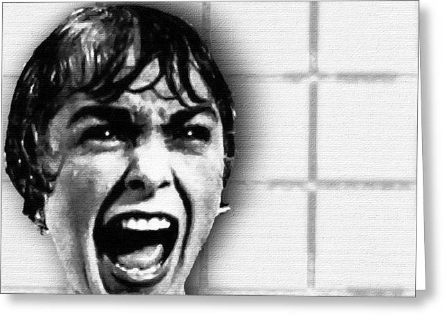 Psycho By Alfred Hitchcock, With Janet Leigh Shower Scene V Black And White Greeting Card by Tony Rubino