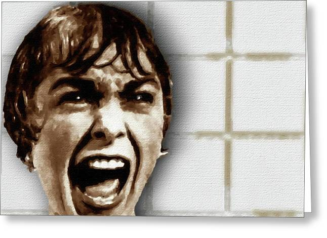 Psycho By Alfred Hitchcock, With Janet Leigh Shower Scene V Color Greeting Card by Tony Rubino