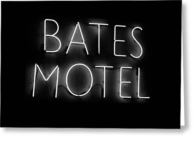 Norman Bates Greeting Cards - Psycho in neon Greeting Card by David Lee Thompson