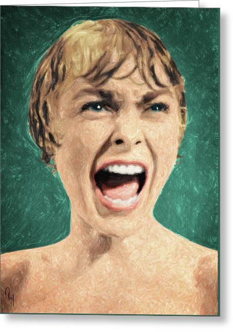 Psycho Shower Scene Greeting Card by Taylan Soyturk