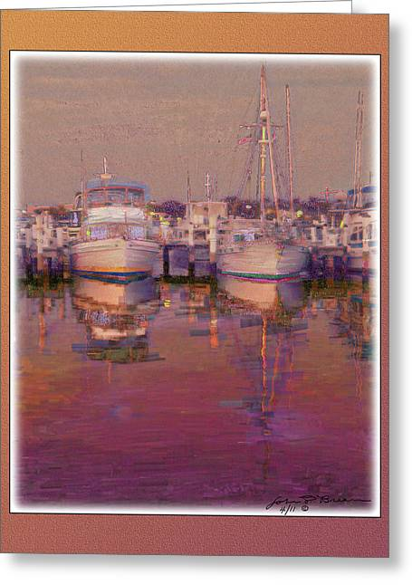 Boats At Dock Greeting Cards - Psychogenic harbor3 Greeting Card by John Breen