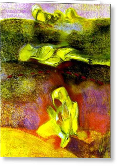 Figural Pastels Greeting Cards - Psychosis Greeting Card by Michal Rezanka