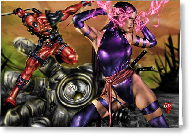 Leather Drawings Greeting Cards - Psylocke and Deadpool Greeting Card by Pete Tapang