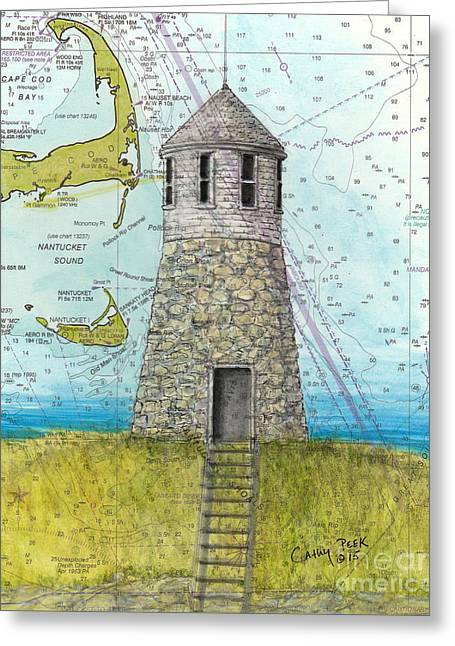 New England Ocean Greeting Cards - Pt Gammon Lighthouse MA Nautical Map Greeting Card by Cathy Peek