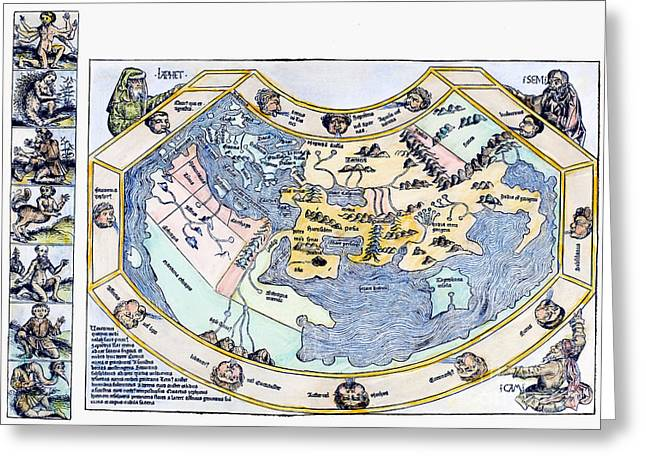 1493 Greeting Cards - Ptolemaic World Map, 1493 Greeting Card by Granger