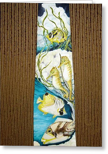 Sea Horse Tapestries - Textiles Greeting Cards - Pu Greeting Card by David Kelly